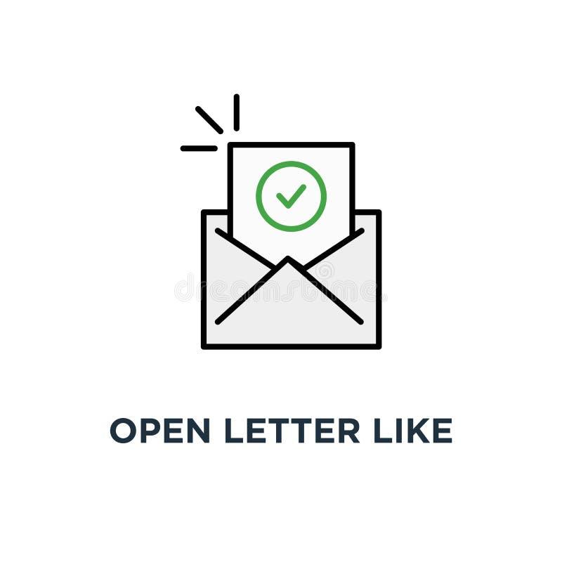 carta abierta como correo electrónico de confirmación, del icono del recordatorio e, del correo del símbolo con SMS del checkbox  stock de ilustración