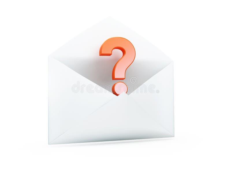 Carta abierta con un illustrationon del signo de interrogación 3D ilustración del vector