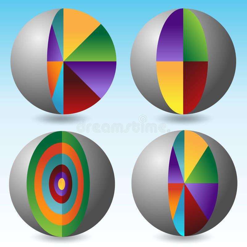 Carta acodada de la disección del globo ilustración del vector