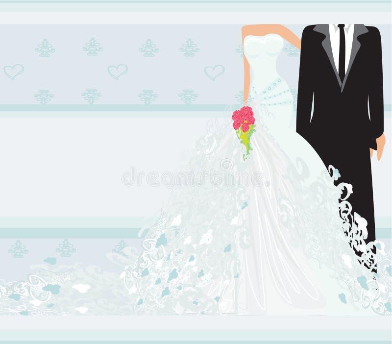 Carta alla moda dell'invito di nozze con il fondo d'annata dell'ornamento illustrazione vettoriale