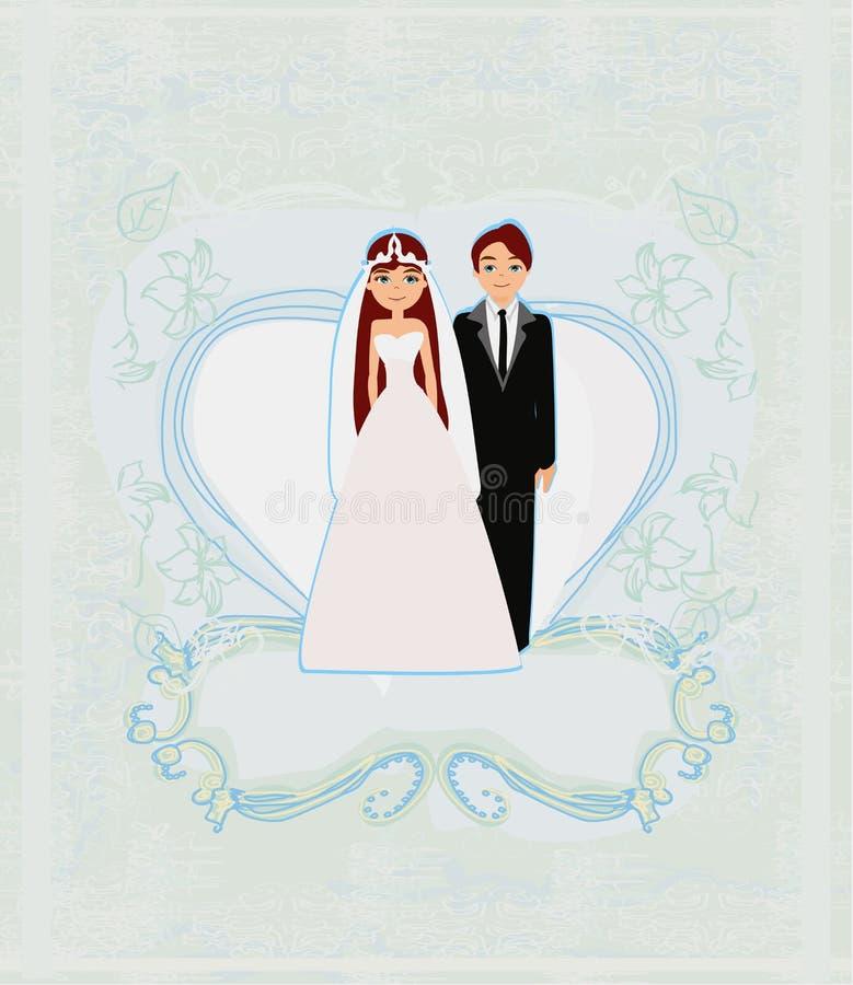 Carta alla moda dell'invito di nozze con il fondo d'annata dell'ornamento royalty illustrazione gratis
