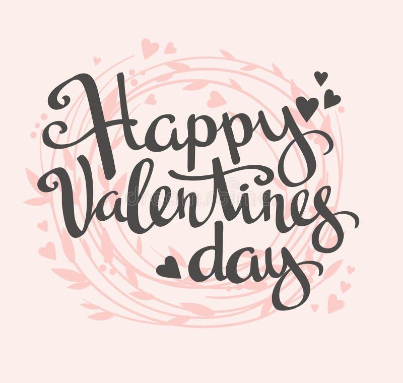 Carta alla moda di amore con la corona floreale Vettore che segna San Valentino con lettere felice royalty illustrazione gratis