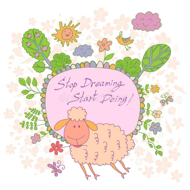 Carta alla moda fatta dei fiori svegli, agnello scarabocchiato del fumetto illustrazione vettoriale