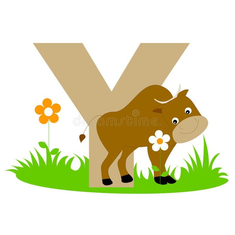 Carta animal del alfabeto - Y ilustración del vector