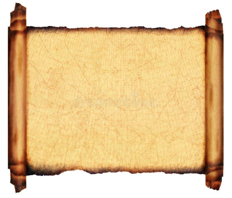 Carta antiga 1910 do mar do pergaminho do rolo fotos de stock royalty free