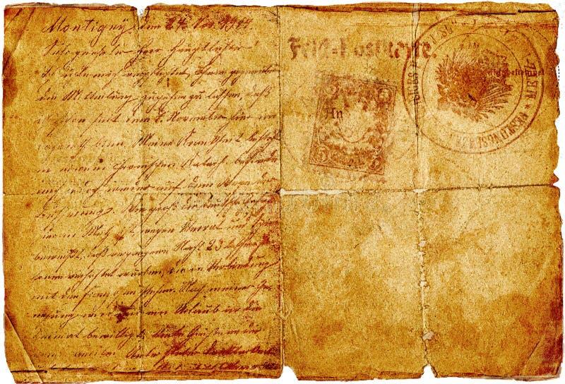 Carta antigua imagen de archivo