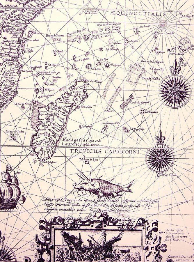 Carta antigua del mar, detalles fotografía de archivo