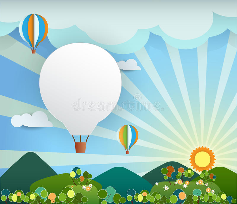 Carta astratta con il pallone della arcobaleno-collina-nuvola del sole illustrazione di stock