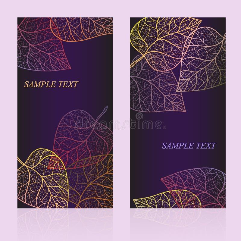 Carta astratta del modello con le foglie di autunno ed il vostro testo per fondo layered illustrazione vettoriale