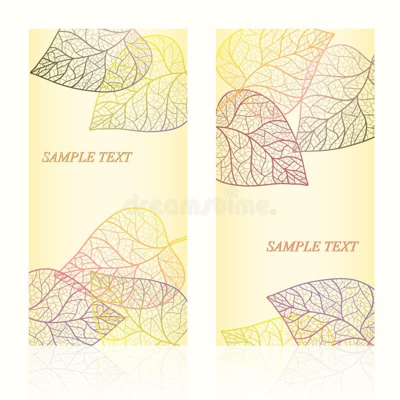 Carta astratta del modello con le foglie di autunno ed il vostro testo per fondo layered royalty illustrazione gratis