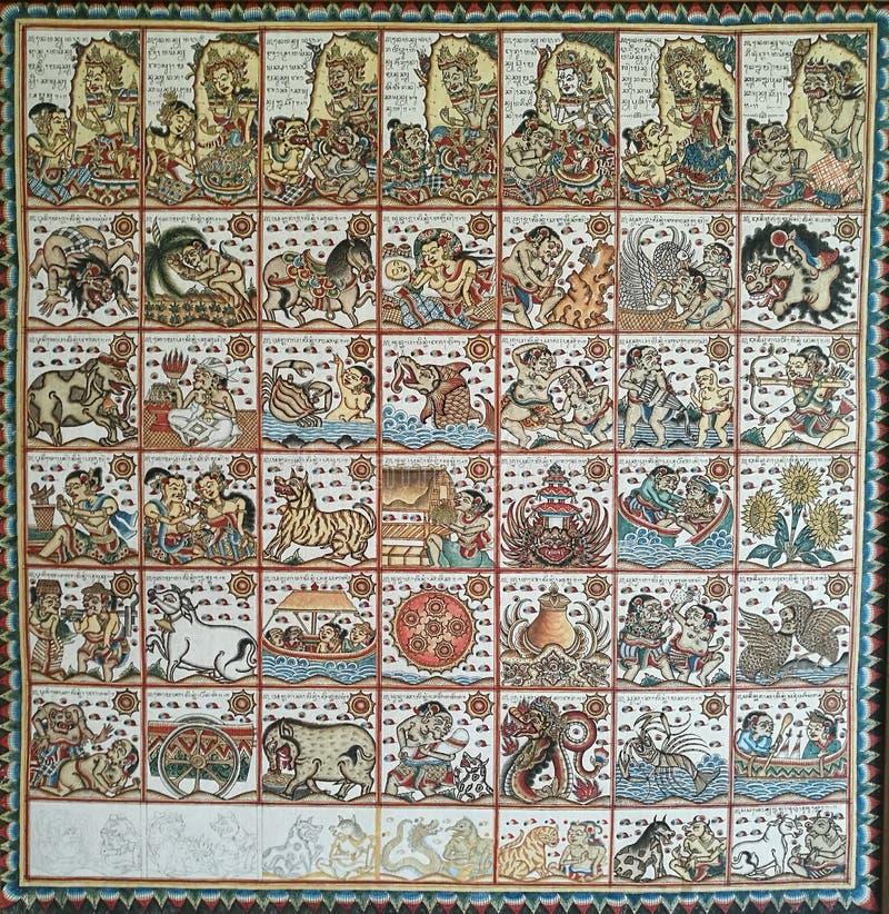 Carta astrológica del Balinese antiguo fotos de archivo libres de regalías