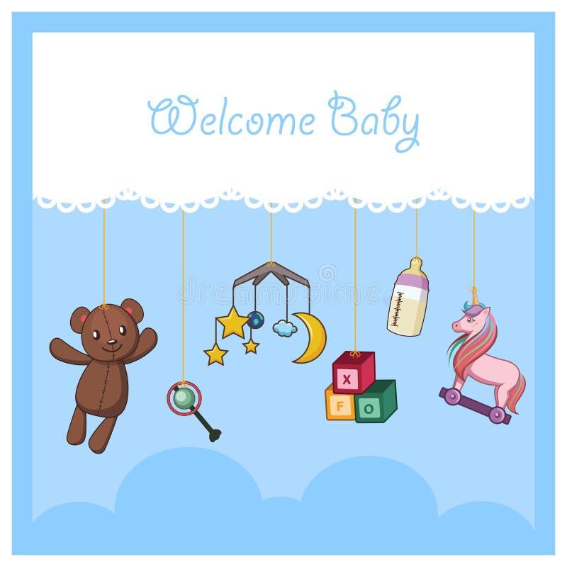 Carta benvenuta del bambino con gli accessori del bambino royalty illustrazione gratis