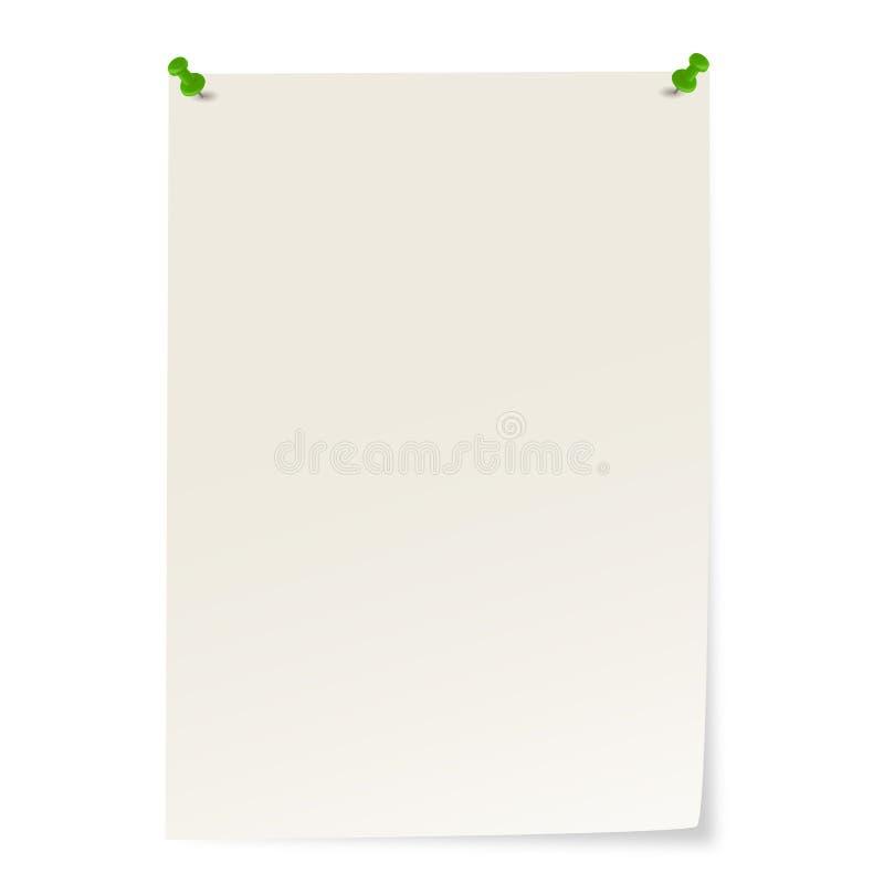 carta in bianco con i perni ed angolo che attacca fuori illustrazione vettoriale