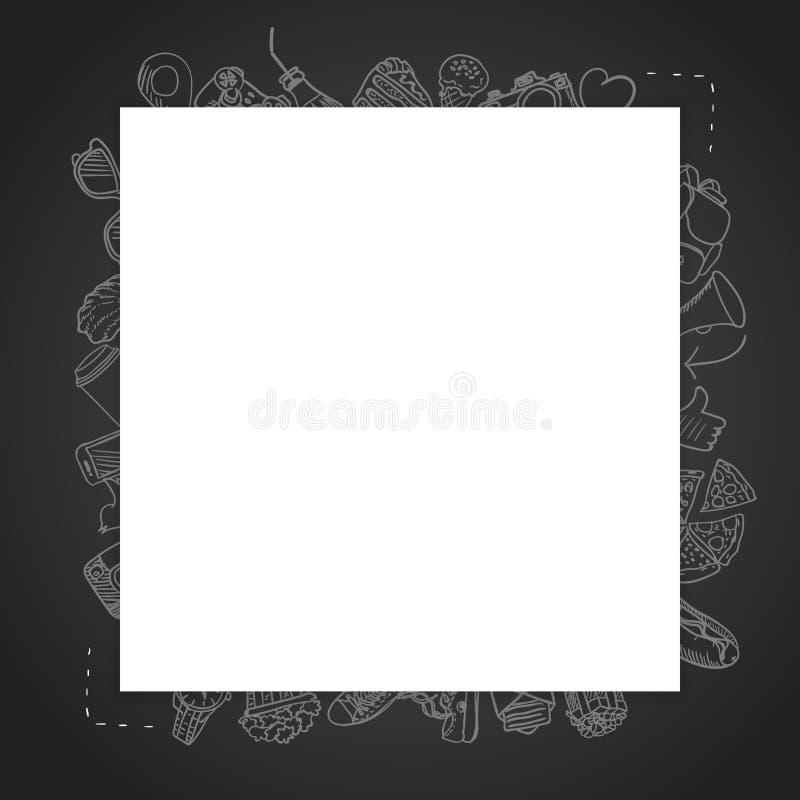 Carta in bianco del modello con i lotti delle icone del disegno nei precedenti fotografia stock