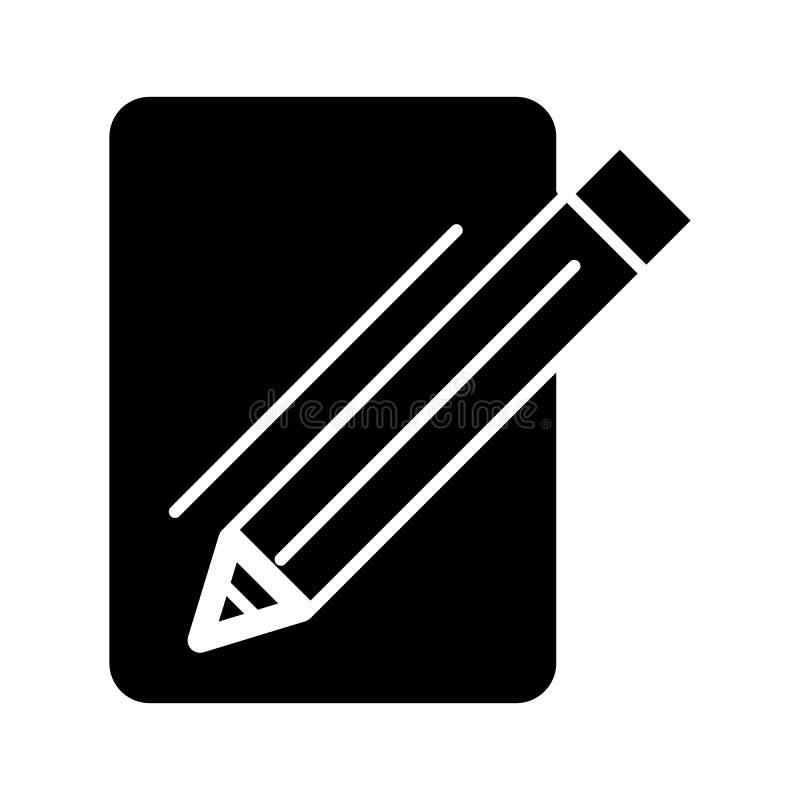Carta in bianco e un'icona di vettore della matita Illustrazione in bianco e nero del blocco note e della penna Icona lineare sol illustrazione vettoriale