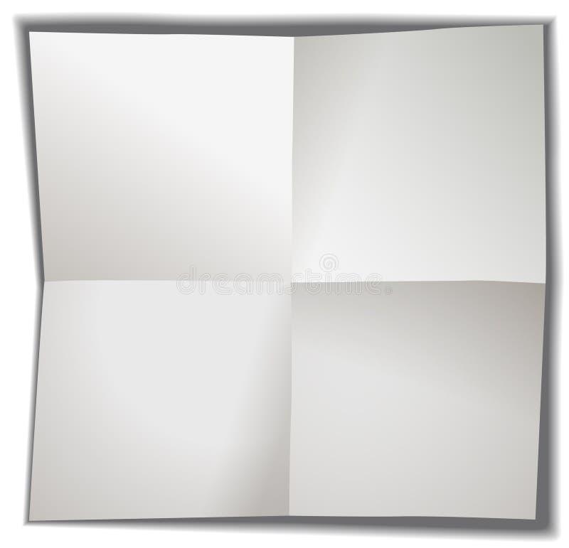 Carta in bianco piegata in quattro illustrazione di stock