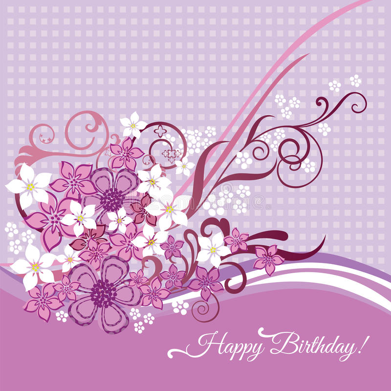 Biglietto di auguri per il compleanno felice con i fiori rosa e bianchi royalty illustrazione gratis