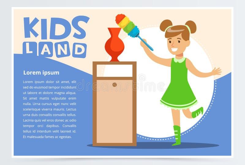Carta blu con la stanza di pulizia sorridente della ragazza con la spazzola della polvere Bambino che fa una pulizia domestica, l illustrazione di stock