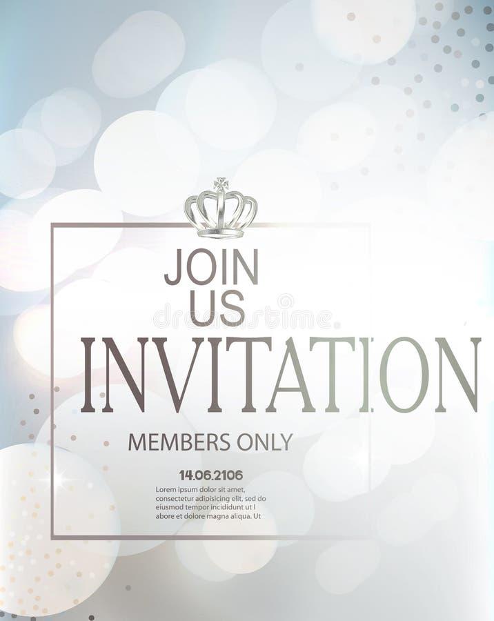 Carta blu dell'invito con la struttura, la corona e le luci defocused sui precedenti illustrazione vettoriale