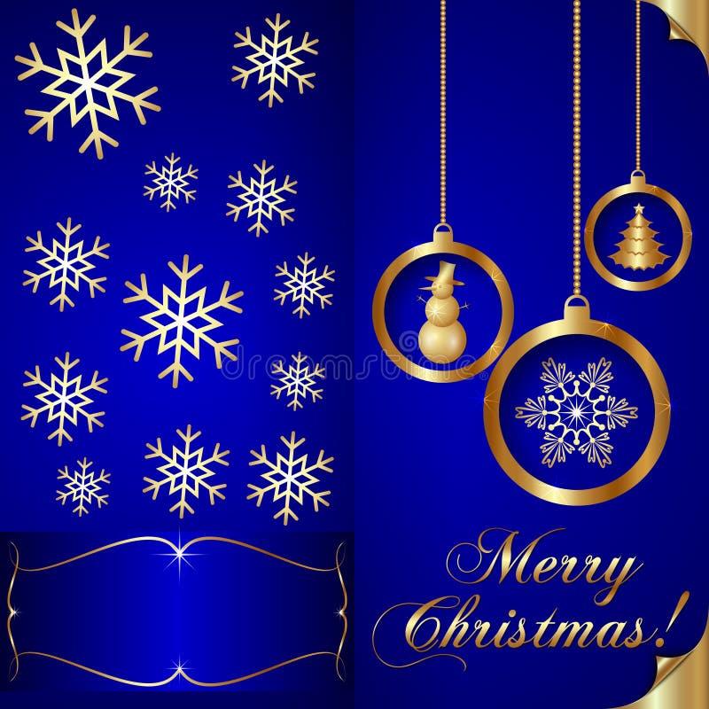 Carta blu dell'invito di Natale di Abstart di vettore illustrazione di stock