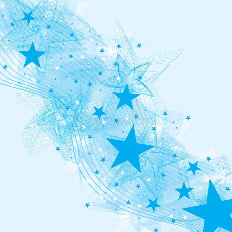 Carta blu della spazzola del fan della stella illustrazione vettoriale