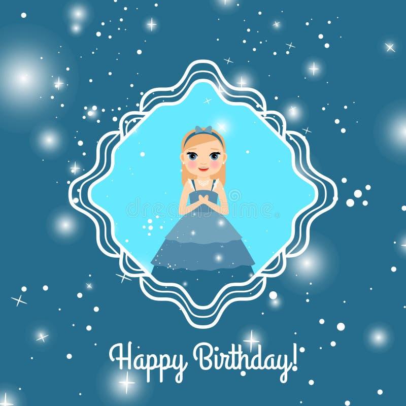 Carta blu di buon compleanno con principessa royalty illustrazione gratis
