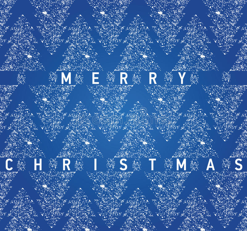 Carta blu di Natale con gli alberi di Natale grungy illustrazione vettoriale