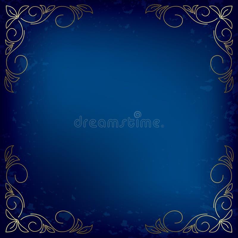 Carta blu scuro con la decorazione dell'oro - vettore illustrazione di stock
