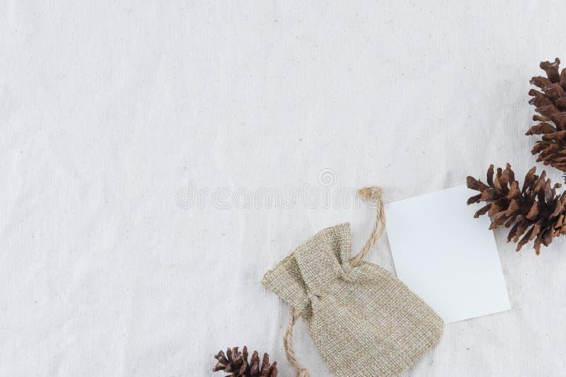 Carta, borsa della tela di sacco e pinecones bianchi in bianco fotografia stock libera da diritti