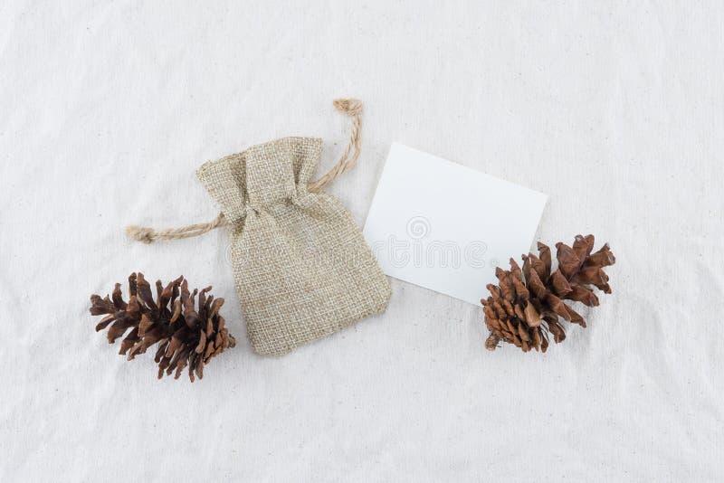 Carta, borsa della tela di sacco e pinecones bianchi in bianco immagine stock