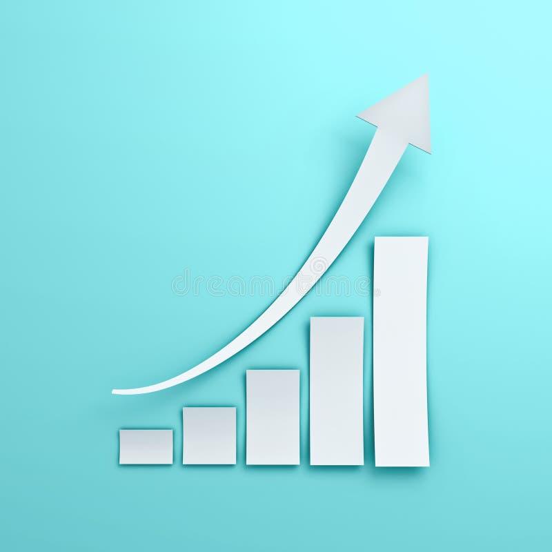 Carta branca do gráfico de negócio com estilo de aumentação do corte do papel da seta no fundo azul da parede da cor pastel ilustração do vetor