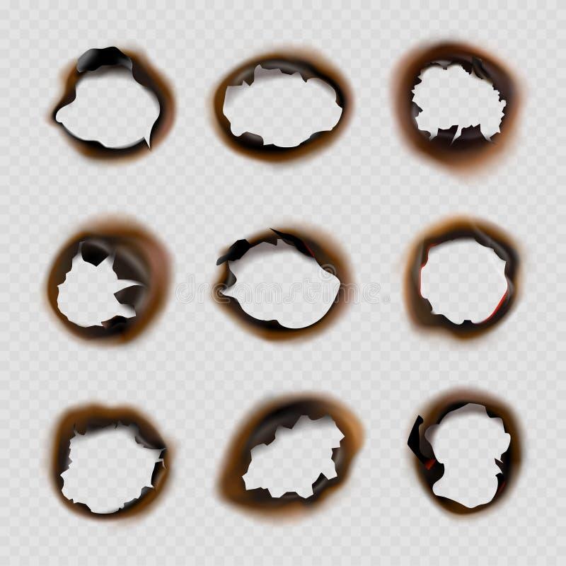 Carta bruciata dei fori Progettazioni di lerciume delle immagini danneggiate dall'incendio di vettore di forme dei cerchi illustrazione vettoriale