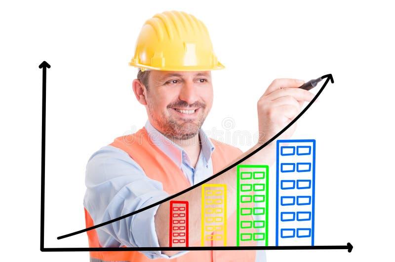 Carta cada vez mayor del dibujo del constructor con los edificios foto de archivo