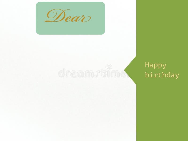 Carta cara di desiderio di buon compleanno nel colore verde e bianco illustrazione di stock