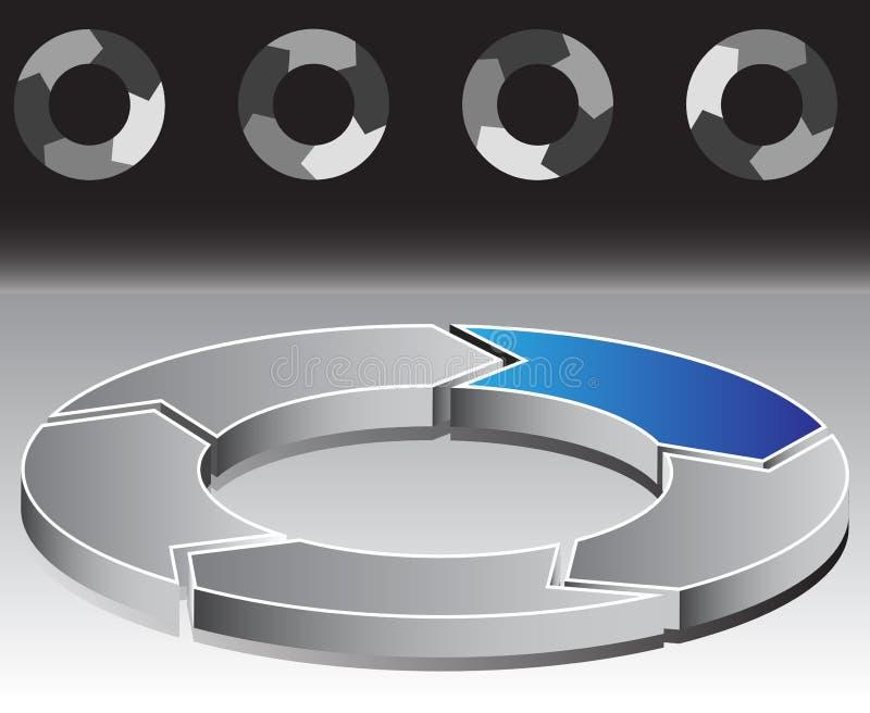 Carta cinco de la flecha del círculo ilustración del vector