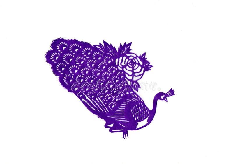 Carta cinese di taglio del pavone fotografia stock
