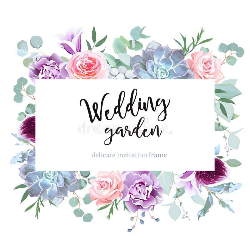 Carta colorata e rosa della prugna alla moda dei fiori di vettore di progettazione illustrazione di stock