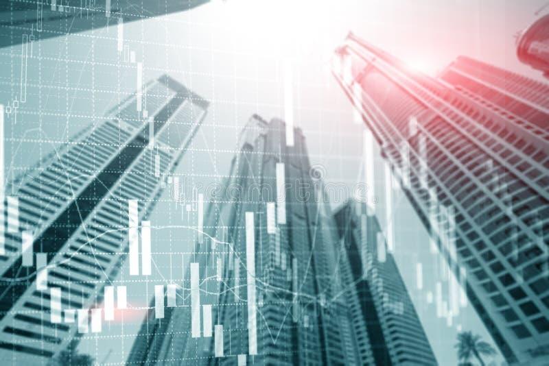 Carta comercial económica del gráfico del crecimiento de las finanzas del fondo universal del extracto en la ciudad futurista de  imagen de archivo