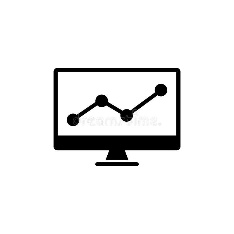 Carta comercial que analiza el icono plano del vector del mercado de acción stock de ilustración