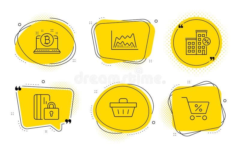 Carta comercial, tarjeta bloqueada y sistema de los iconos de la casa del préstamo Cesta de compras, Bitcoin y muestras de la ofe ilustración del vector