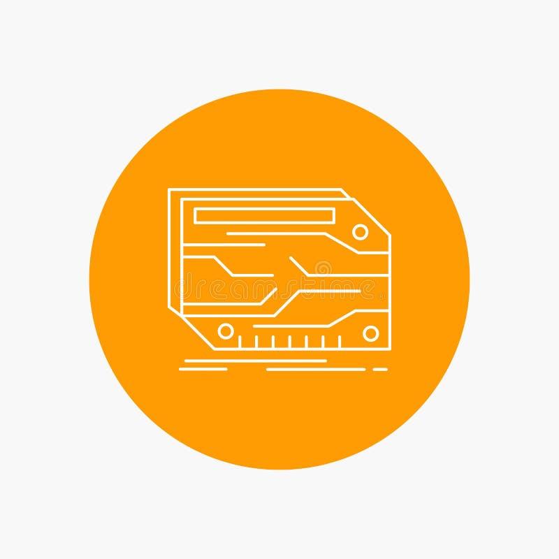 carta, componente, su ordinazione, elettronica, linea bianca icona di memoria nel fondo del cerchio Illustrazione dell'icona di v illustrazione vettoriale