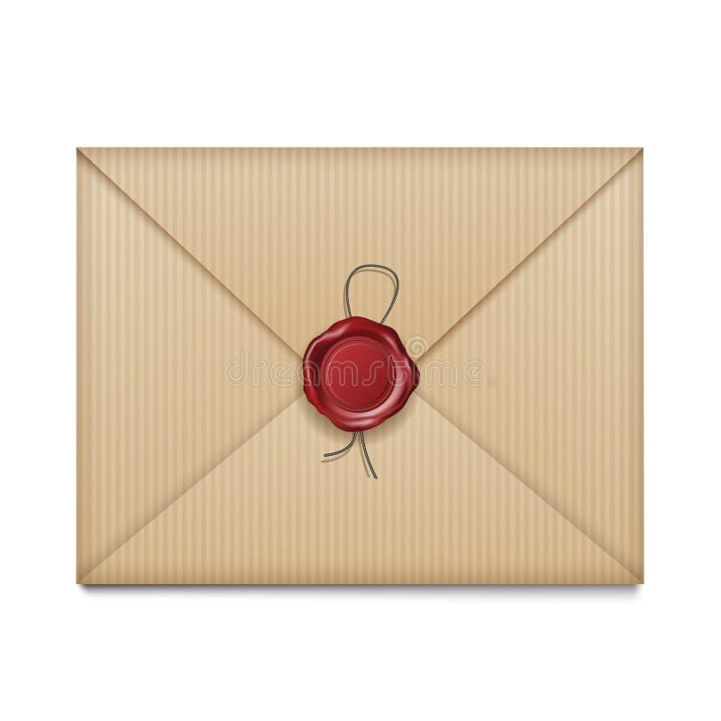 Carta con el sello de la cera stock de ilustración