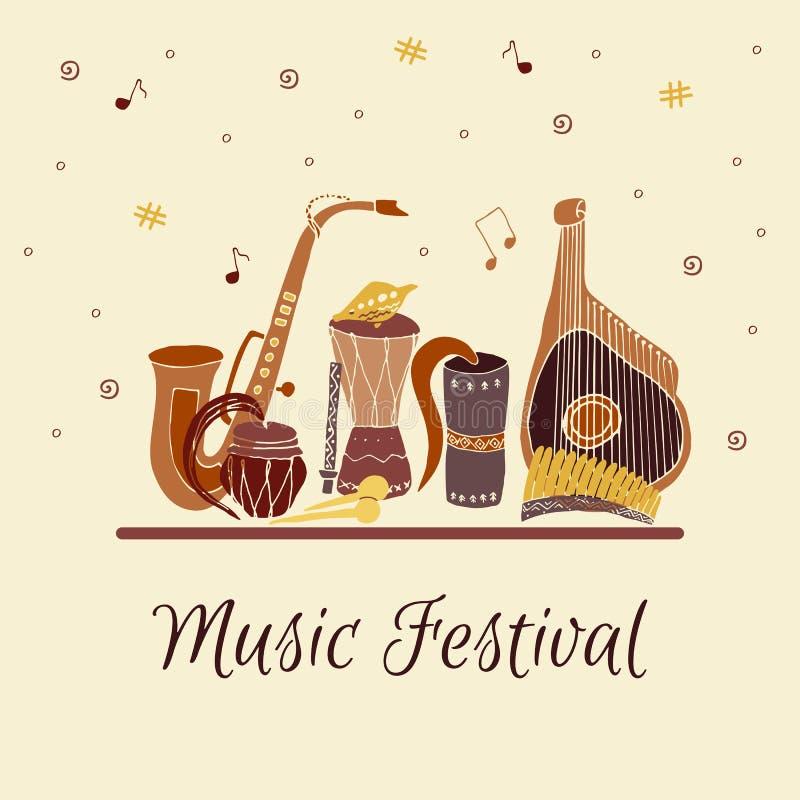 Carta con gli strumenti di musica tradizionali disegnati a mano Festival di musica illustrazione vettoriale