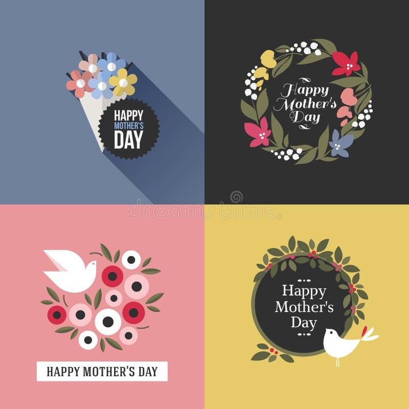 Carta con gli uccelli graziosi, assortimento di giorno di madri dei fiori illustrazione di stock