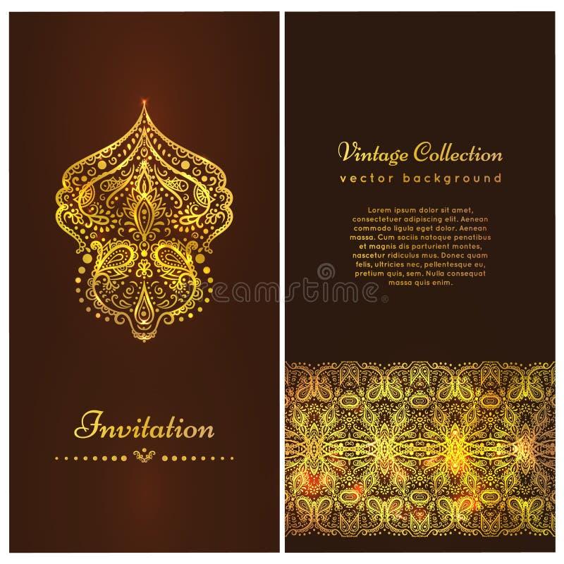 Carta con i bei ornamenti dorati, struttura del damasco, confine dell'invito Una carta d'annata di lusso di vettore Modello reale illustrazione vettoriale