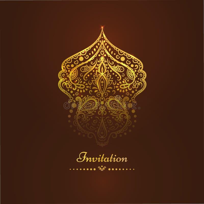 Carta con i bei ornamenti dorati, struttura dell'invito del damasco illustrazione vettoriale