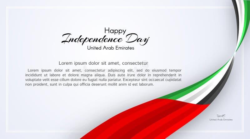 Carta con i colori ondulati del nastro della bandiera nazionale degli Emirati Arabi Uniti UAE con il testo della festa nazionale  illustrazione vettoriale