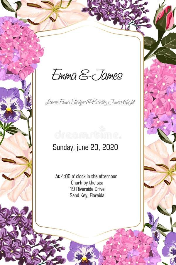 Carta con i fiori del giardino: le rose, gigli, ortensia, stile dell'acquerello, possono essere usate come carta dell'invito royalty illustrazione gratis
