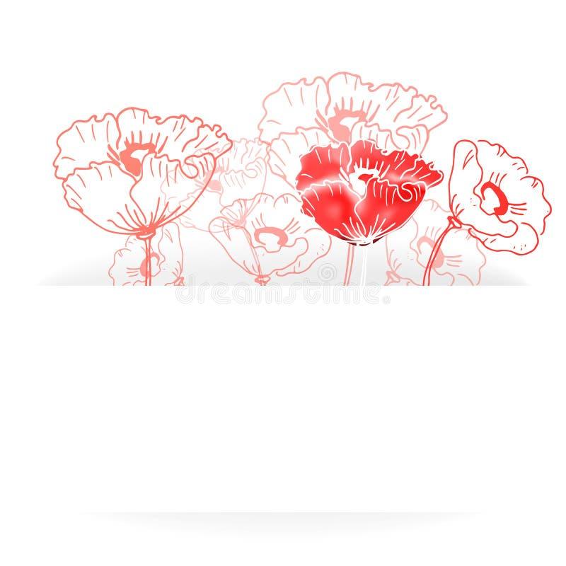 Carta con i fiori e posto per testo illustrazione vettoriale