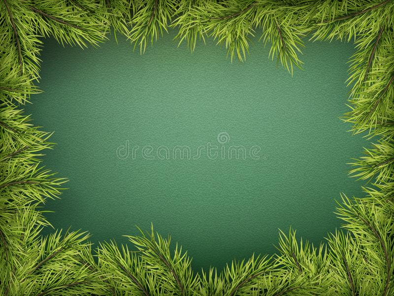 Carta con il confine dell'albero di Natale, struttura realistica dei rami dell'abete su fondo verde ENV 10 royalty illustrazione gratis